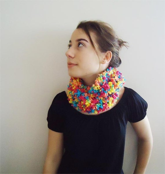 COLORFUL COWL SPRING   Knitted  scarflette  Free Shipping