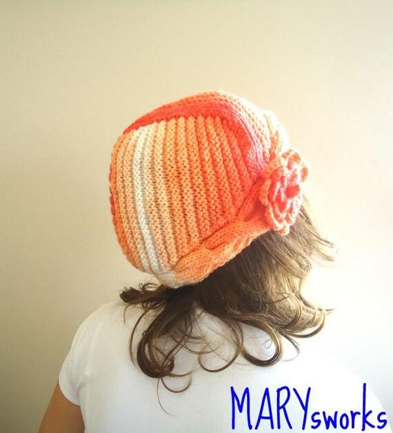 Winter Hat Knitting colorful ORANGE SALMON beret HAT  Ready to ship
