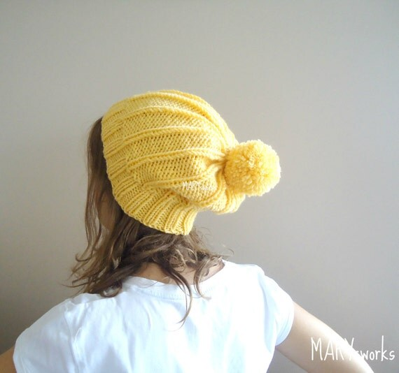 hand knitted YELLOW SLOUCHY BEANIE Winter Hat  with removable pompon ,reversible   Autumn Accessories Winter Fall Fashion