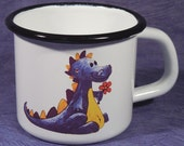 Enameled Tin Mug - with an own drawing / dragon