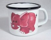 Enameled Tin Mug - with an own drawing / elephant