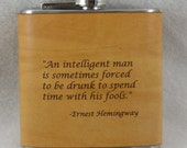 Hemmingway Flask with Hand Dyed Engraved Leather Wrap, Scotch, Whiskey, Personalized Flask, Engraved Flask