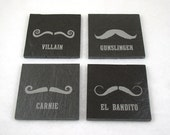Mustache Slate Drink Coasters - Set of 4 Engraved