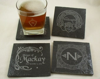 Slate Drink Coasters - Set of 4 Engraved with your Monogram or Wedding Date, etc.