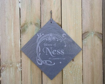 "Wedding Gift Family Name Sign Engraved in Slate with your Name and Wedding Date - 12"" tile"