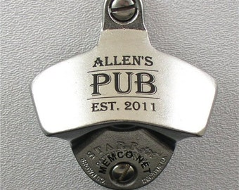 Set of 9 Groomsmen Gifts - Personalized Bottle Openers Wall Mount Opener - NOcapcatcher