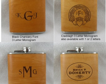 Monogrammed Flask with Hand Dyed Engraved Leather Wrap