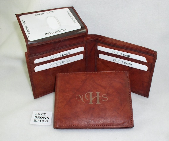 Monogrammed Leather Wallet - Brown Bifold
