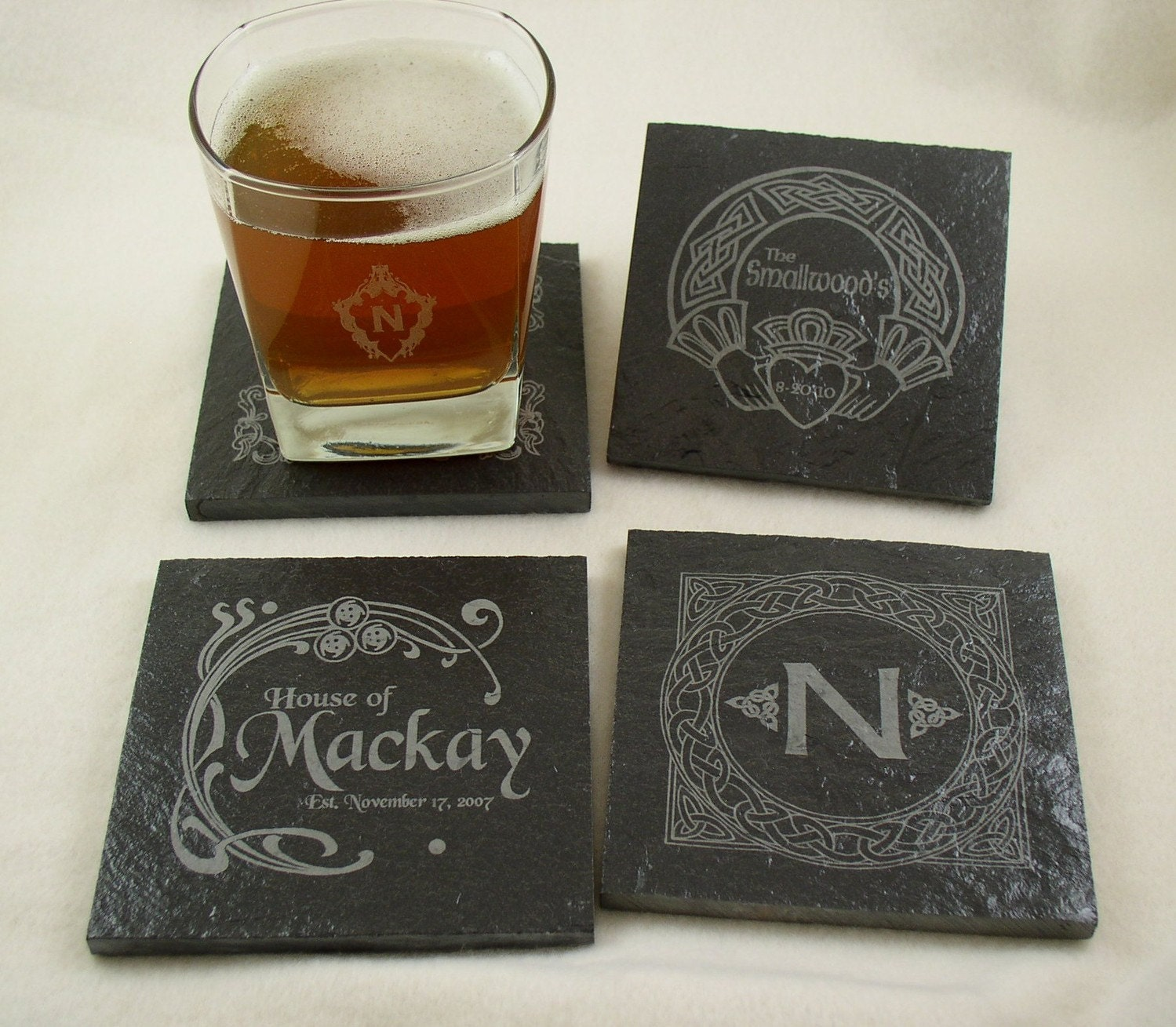 personalized slate drink coasters set of 4 engraved with