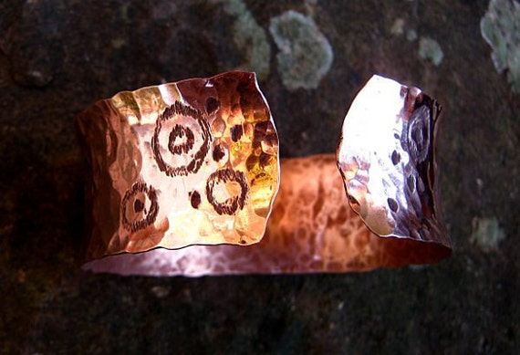 Cup and Rings of the West - Carved copper cuff/bangle