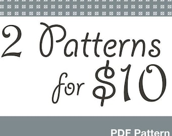 Pick 2 Sewing Patterns for 10 dollars, Deal make your own selection.