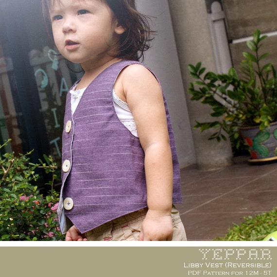 No Serger - PDF Pattern - Libby Vest (Reversible) for 12M - 5T and tutorial.