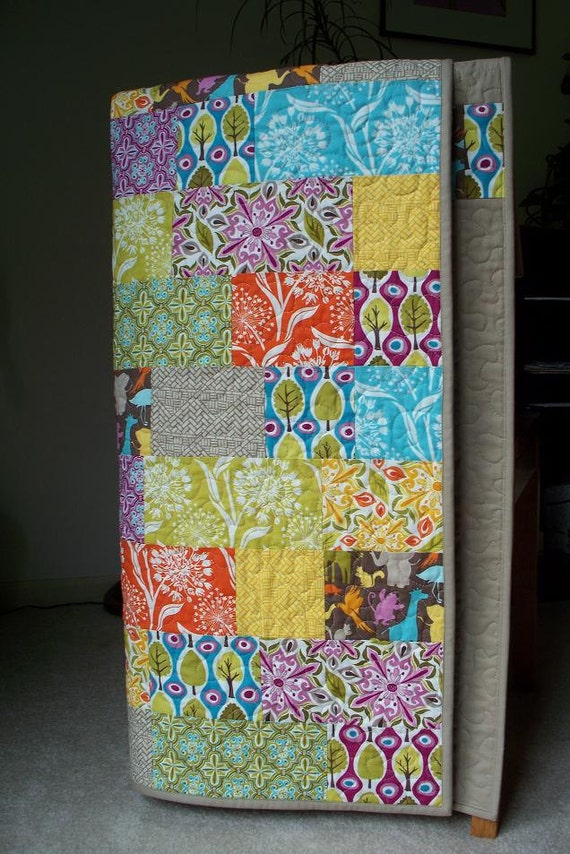 Bright Bricks in Central Park Modern Patchwork Baby or Toddler Quilt FREE U.S SHIPPING