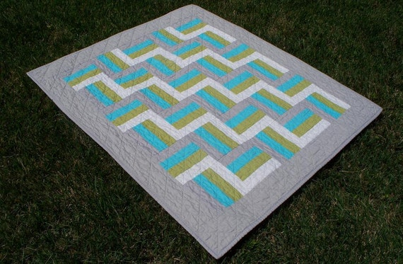 Modern Baby Quilt in Gray, Aqua, Green & White w/ FREE U.S Shipping