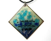 Copper enamel, blue pendant - transparent swirls -  large