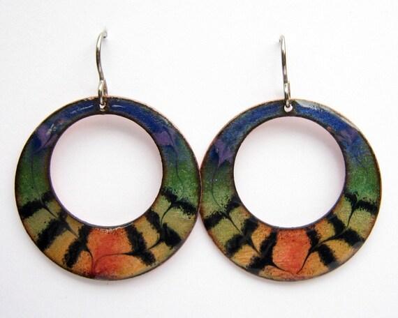 Handmade Rainbow Hoop Earrings - enameled copper with titainium earring hooks