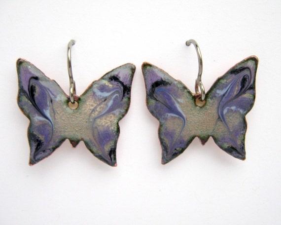 Purple butterfly earrings - copper enamel with titanium earring hooks