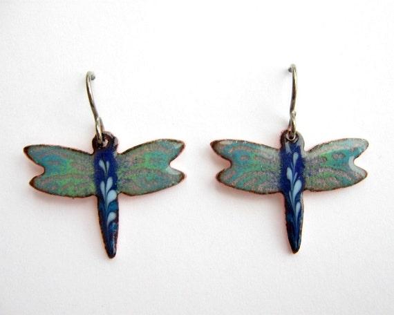 Blue Dragonfly Earrings - Handmade copper enamel  with titanium earring hooks
