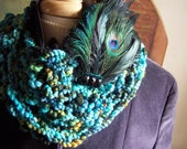 Pretty in Peacock Chunky Hand Spun, Hand Dyed Knit Cowl with Feathered Brooch ON SALE