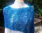 Hand Dyed Colors of the Sea Scarf Shawl With Sequin Sparkle