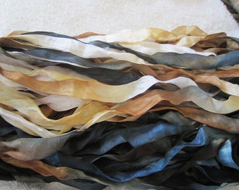 4 Yards STORMY SHORE 1/2 Inch Wide Hand Dyed Ribbon