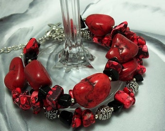 Alcohol Prevention, Heart Disease, HBP Awareness, Red Turquoise Bracelet