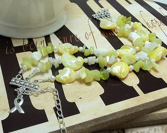 Spina Bifida, Sarcoma, Endometriosis Awareness, Yellow Mother of Pearl Bracelet