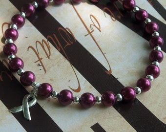 Sickle Cell Anemia, Multiple Myeloma Awareness Pearl Bracelet