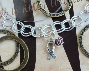 Sickle Cell Anemia, Multiple Myeloma Awareness Charm Bracelet