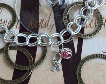 Alcohol Prevention, Heart Disease, HBP, Hypertension Awareness Charm Bracelet