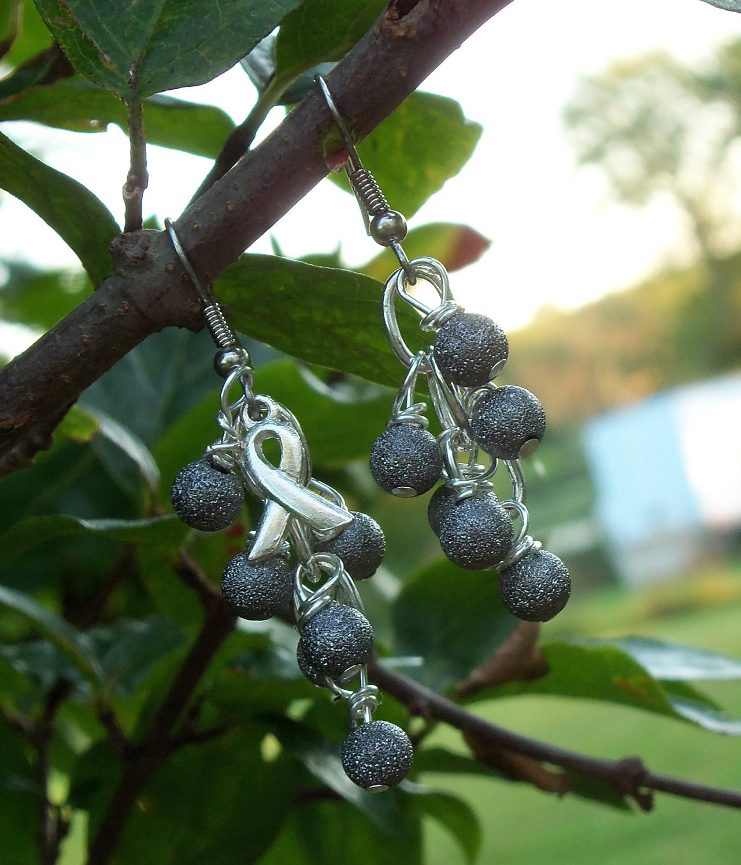 Dyslexia Awareness Silvers: Parkinson's Disease Dyslexia Awareness Cluster Earrings
