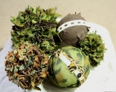 Home Decor Fabric Sphere Orb Ball Grouping in Green Animal Textured Fabrics (was 45.00, now 20.00)