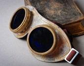 RESERVED till 18.09 ....Vintage Anti Sun Steampunk Eye Wear. Dark blue lenses