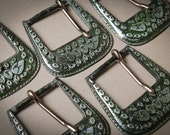 Set of 3 Vintage metal belts buckle. Floral decor
