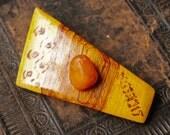 Vintage wood brooch, badge pin.