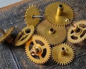 Lot of 8 Vintage clock parts, gears