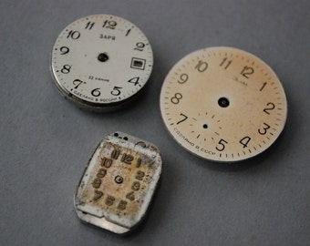 SALE 20% off......Set of 3 Vintage watch movement, watch parts, watch faces.