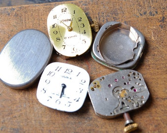 Set of 3 Vintage watch movement, watch parts, watch faces, cases