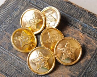 Set of 6 vintage Soviet Russian Army Uniform buttons.