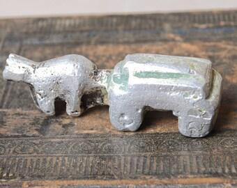 Vintage metal toy, figurine, carriage, horse vehicle