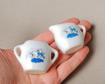 Vintage miniature porcelain tea set, sugar bowl and cream jug