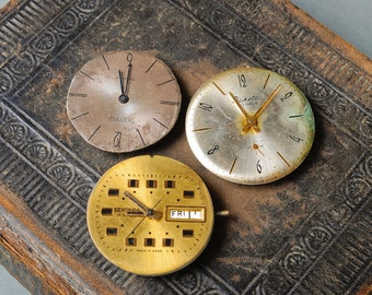 Set of 3 Vintage watch movement, watch parts, watch faces. (MS)