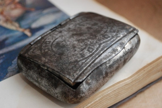 Antique metal tabacco tin, case, holder.