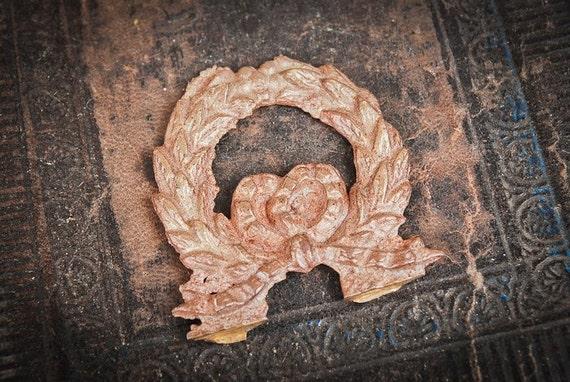Antique brass plate,  finding, embellishment. Laurel wreath