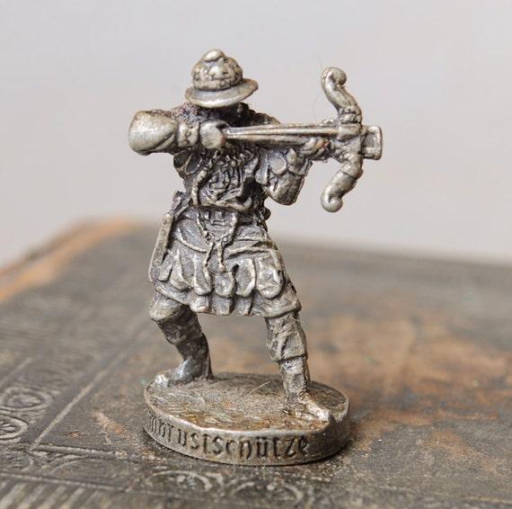 Vintage metal figurine, soldier. Miniature statuette. Landrin toy. Livonian Order