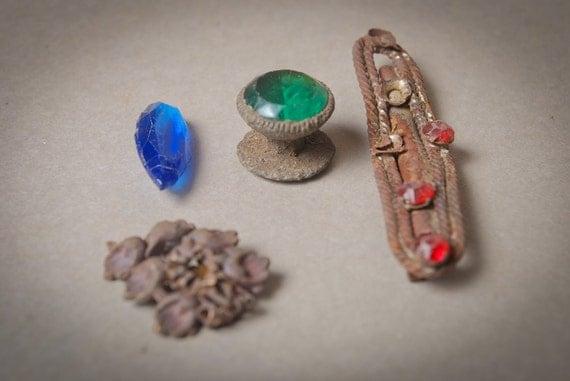 Set of 4 Antique metal parts, charms, primitive findings