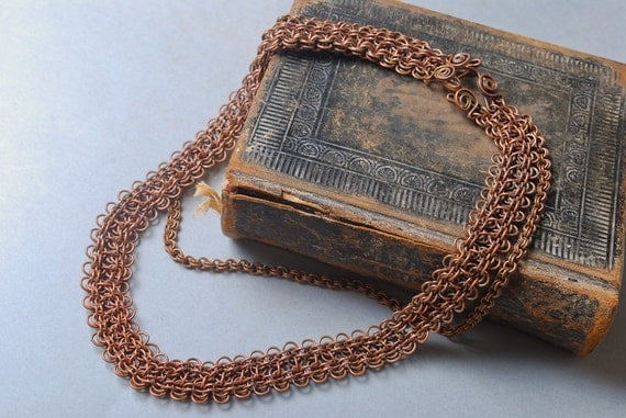 Vintage chain maille necklace, copper
