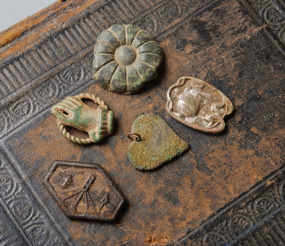 Set of 5 Antique metal parts, charms, plates, primitive findings, parts of antique jewelry.