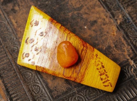 SALE...Vintage wood brooch, badge pin.