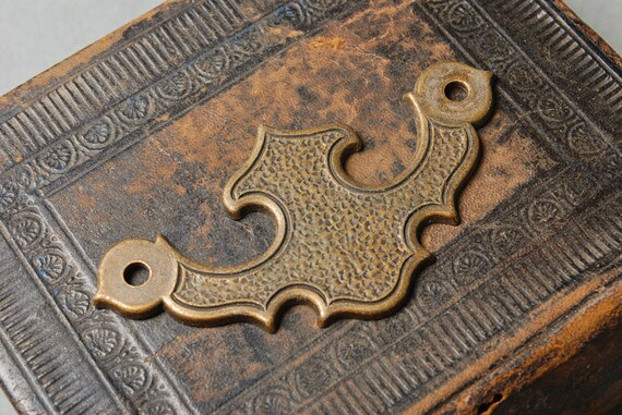 Vintage brass plate, escutcheon, connector, finding
